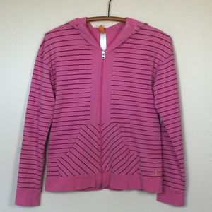 LUCY Pink with Maroon Stripe Zip Hoodie S EUC